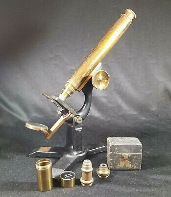 Antique Brass Microscope James W. Queen + 3 Lens Late 1800s 19th Century WORKS