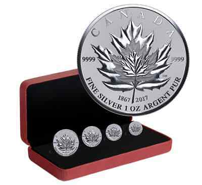 2017 Canada Maple Leaf  .9999 PURE Silver 4-Coin Reverse PROOF Fractional Set