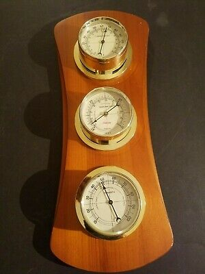 Vintage Sunbeam Barometer Humidity Thermometer Hardwood  Weather Station
