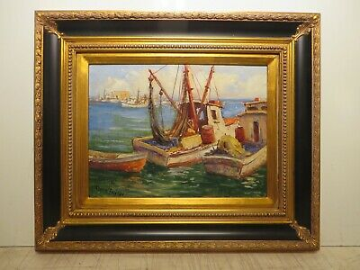 "12x16 org. 1950 oil painting by Rolla Taylor of ""Shrimper Boat in Rockport Tx."""