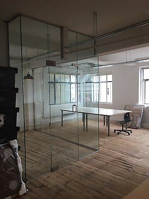 Glass Partitions, Glass wall dividers 10 & 12mm Clear, Frosted or Etched