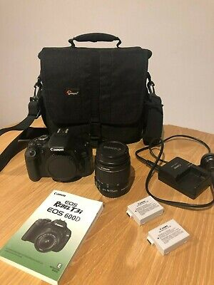 Canon EOS 600D with EF-S 18-55mm lens, 2 batteries and camera bag
