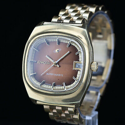 Vintage ENICAR Super Quartz - 1970s - brown / copper dial - Cal. AR322 - 35mm