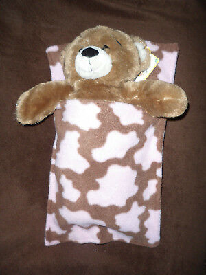 Build a bear teddy sleeping bag blanket pocket pink brown snuggle soft doll bed