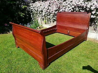Antique Vintage Mahogany Sleigh bed roll top Lois style