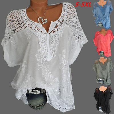 UK Womens Oversized Short Sleeve Lace Hollow Baggy T-Shirt Tops Blouse Plus 8-24