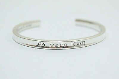 Tiffany & Co. Sterling Silver 1837 Narrow Cuff Bangle Bracelet