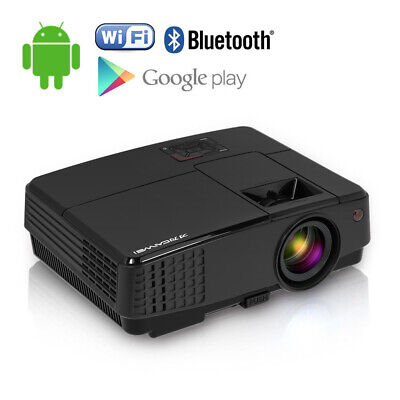 Smart Android Projector Bluetooth Home Cinema HD 1080p Movie HDMI Airplay Games