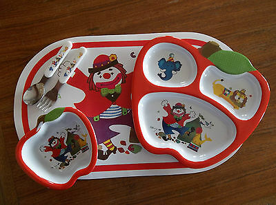 Vintage Child Infant Melamine Divided Plate Bowl Fork Spoon Placemat Set Circus