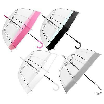 "Large 31"" Clear See Through Dome Umbrella Ladies Transparent Walking Brolly Lot"