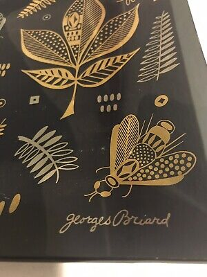 Mid Century Georges Briard Serving Plate, Gold Silver Black, Honey Bee Nature