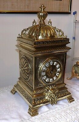 Large Ornate polished brass French 8 Day Cube Mantle Clock Japy Freres