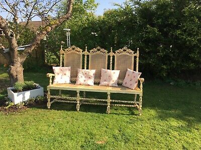 Vintage-Antique French Hall Bergere Sofa. Beautifully Carved Wood & Inlaid Cane