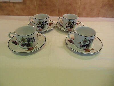 Royal Worcester Evesham Vale Cups & Saucers x 4