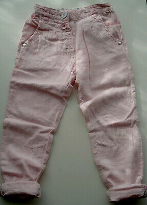NEXT Girls Pink Linen Trousers 3-4 years