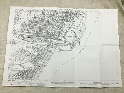 Antique Map East Suffolk South Lowestoft Harbour Streets Old Maps 1905 Copy