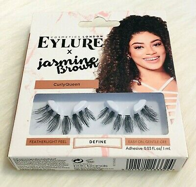 7ec6860c843 Eylure X Jasmine Brown Lashes Curly Queen Reusable Adhesive Included 1 Pair