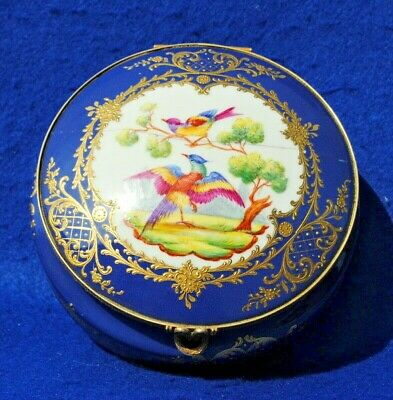 "19Thc Antique Paris French Porcelain Large 6"" Trinket Box Hand Painted Birds"