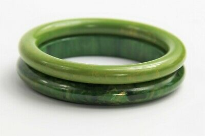 Estate Pair Vintage Bakelite Marbled Green Cream Spinach Bangle Bracelets Tested