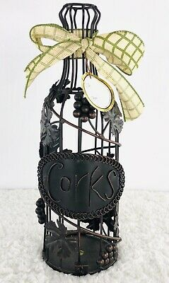 Wine Bottle Shape Cork Holder Metal Decorative Leaves Grapes Bar