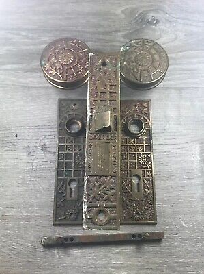 "Antique Brass B-11500 Schroder ~1885 2-1/4"" Door Knobs And Door Plates Victorian"
