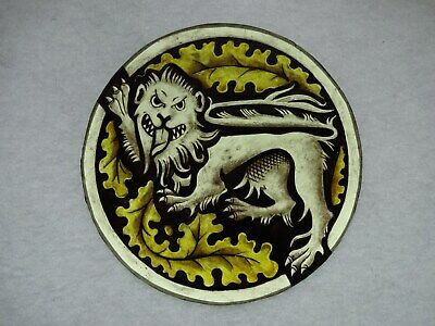 Beautiful Stained glass.LION.Hand painted.Kiln fired.Diameter-160mm.Antiq.st.