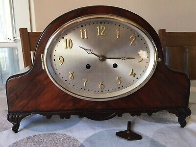 Rare Vintage Oval Faced Flame Walnut Mantle Clock Circa 1920