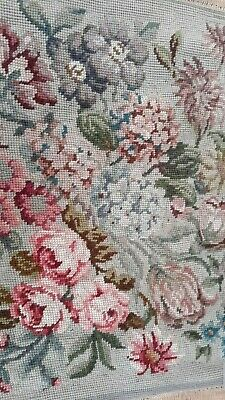 Beautiful Vintage Old Aubusson Roses Completed Tapestry Wallhangng Kit Panel Rug