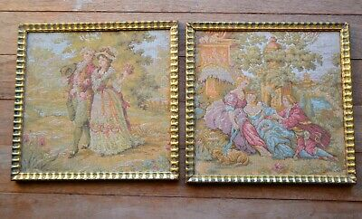 Vintage French tapestry framed a pair of romantic tapestry