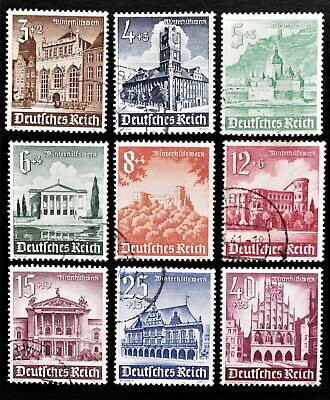 Germany- Third Reich 1940 Set of 9 WINTER RELIEF Historic Buildings - USED & MH
