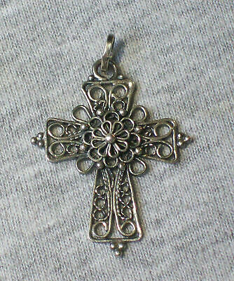 Antique Russian Orthodox Christianity Sterling Silver Filigree Cross Pendant #2