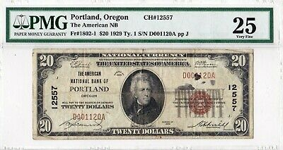 $20 1929 T1 American National PORTLAND Oregon OR  PMG 25 Very Fine 22 on Census!