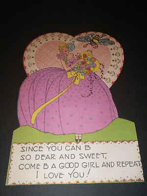 Old vintage antique Valentine's Day card from the 1900's 1932 Good Girl