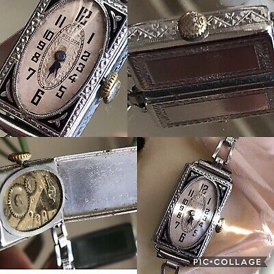 1928 Ladies Art Deco Enamel Bulova Watch ~ Runs