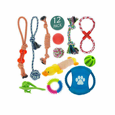 Pk of 3/5/7/10/12 Dog Puppy Toy Rope Soft Plush Sound Play Squeaker Ball Toys