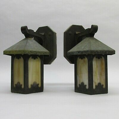 Pair Original Arts & Crafts Mission Slag Glass Light Fixture Sconces not Copper