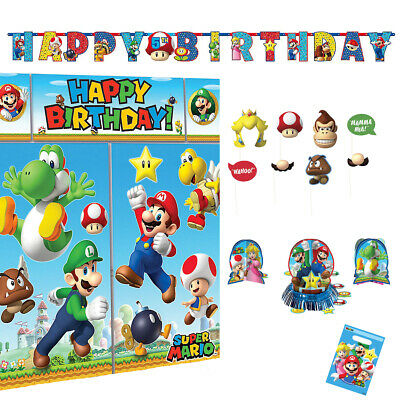 SUPER MARIO TABLE Decorating Kit 23 Piece Centerpiece Party Supplies