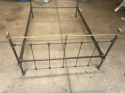 Antique Cast Iron Brass Single Bed Head & Foot Boards With 2 Bed Rails