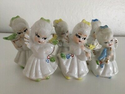 Set of 6 Antique Chinese Hand Painted Porcelain Angel Figures Figurines