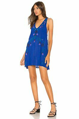 """FREE PEOPLE $98 """"Adelaide"""" Festival Embroidered Slip Dress XS 0/2 NWT Blue"""