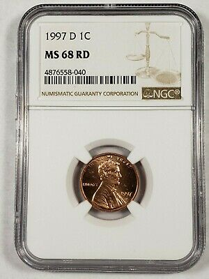 1997-D Lincoln Cent Penny NGC MS68 RD *Rare*  1c  -040