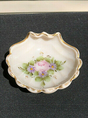 Antique Victorian Hand Painted Floral & Gold Trim Milk Glass Sea Shell Soap Dish
