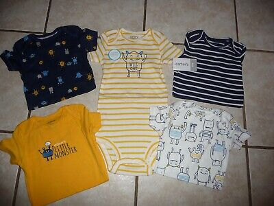 NEW NWT Carters boys size 9 months 5 pack colorful monster themed bodysuits