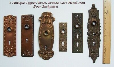 ANTIQUE Door BACKPLATES Lot of 6 ~COPPER, Brass, CAST Iron ~ DOUBLE skeleton KEY