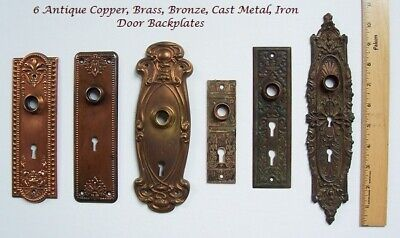 ANTIQUE Door BAKPLATES Lot of 6 ~COPPER, Brass, CAST Iron ~ DOUBLE skeleton KEY