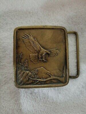 Vintage Indiana Metal Craft 1977 Bald Eagle Belt Buckle