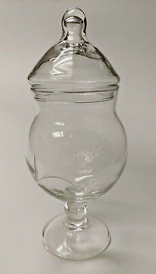 """Vintage Glass Etched Wheat Design Apothecary Jar  Container 8 1/2"""" x 3 1/2"""""""
