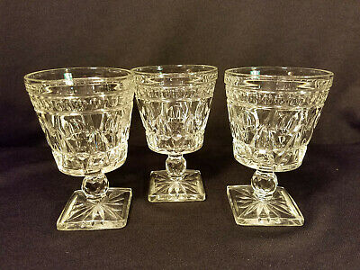Set of 3 Clear Indiana Glass Colony Park Lane Footed Water Goblets