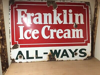 "Rare Vintage 1920s Franklin Ice Cream All Ways Porcelain Sign 30"" X 40"""