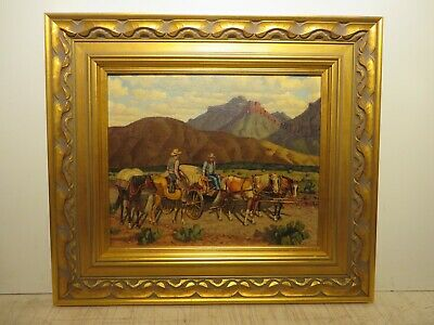 "14x17 original 1935 oil painting by FRED DARGE ""Friendly Encounter"" Western"
